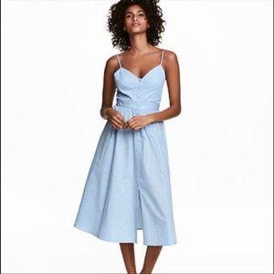 H&M blue polka dot midi dress